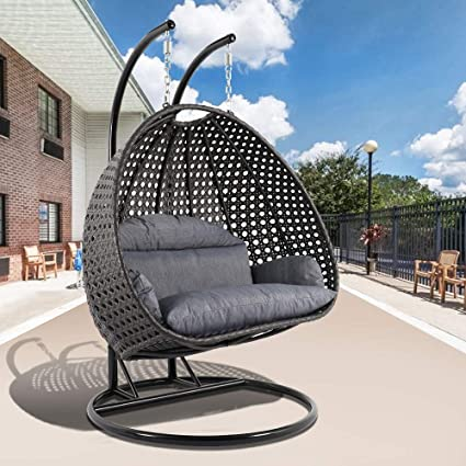 Phenomenal Amazon Com Leisuremod Wicker 2 Person Double Hanging Swing Alphanode Cool Chair Designs And Ideas Alphanodeonline