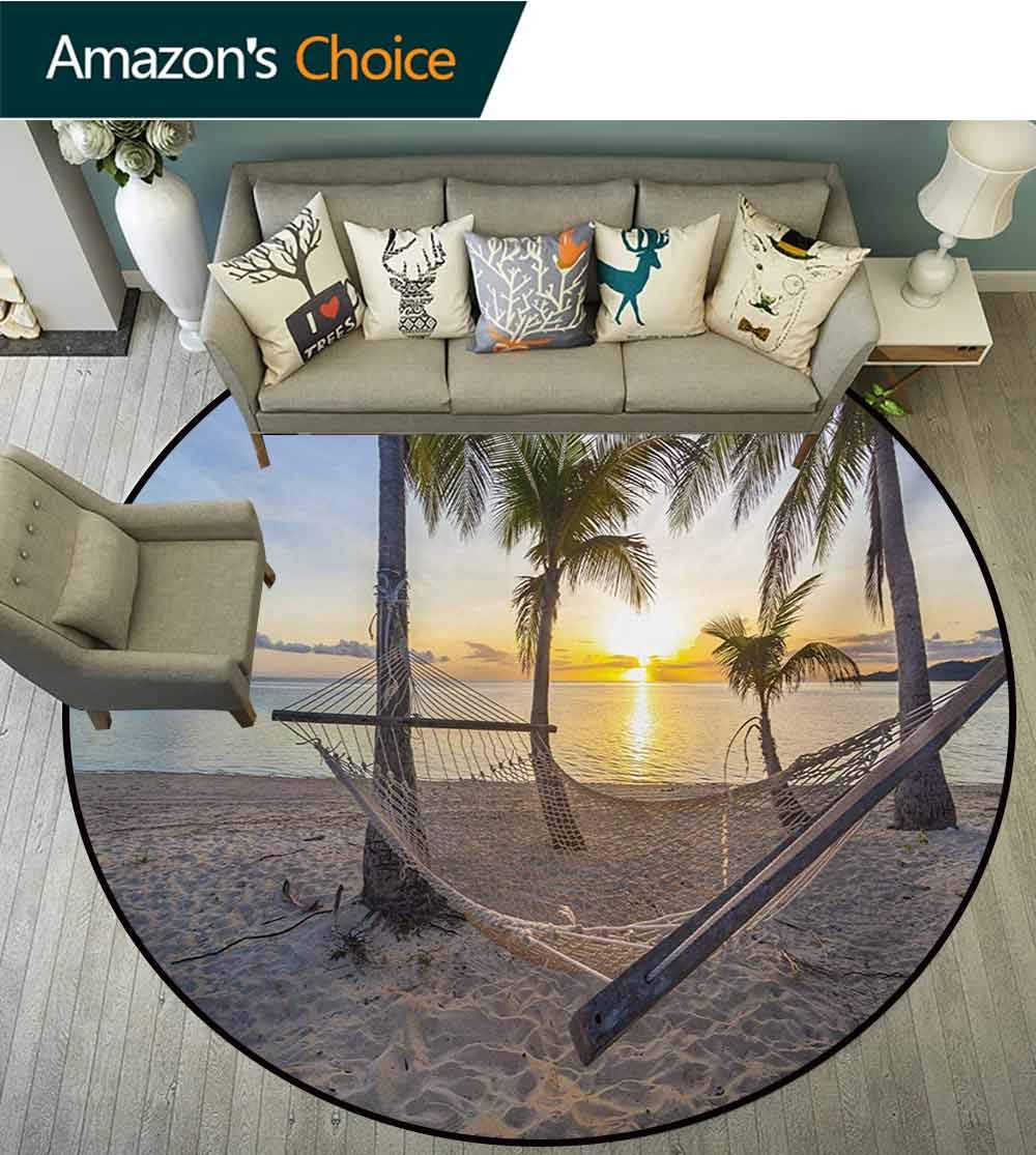 RUGSMAT Tropical Round Rug,Paradise Beach with Hammock and Coconut Palm Trees Horizon Coast Vacation Scenery Carpet Door Pad for Bedroom/Living Room/Balcony/Kitchen Mat,Diameter-71 Inch