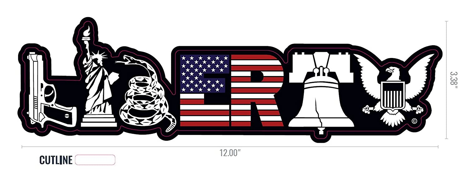 Liberty Decal for Truck Car Jeep Rear Window Symbols of Liberty Patriotic Decal Bumper Sticker