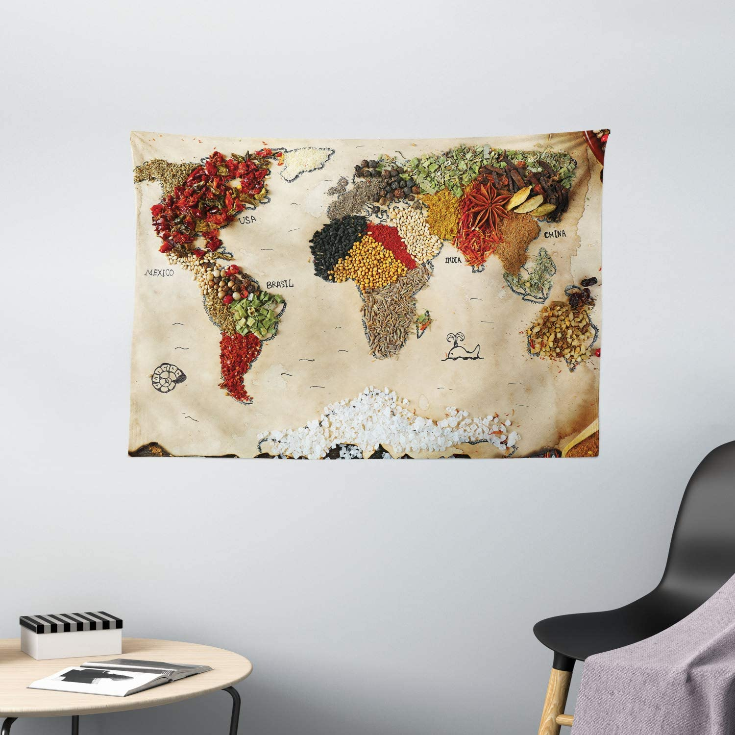 Ambesonne World Map Tapestry, Map of World Different Spices Design with Food Bohemian Style Artwork, Wide Wall Hanging for Bedroom Living Room Dorm, 60