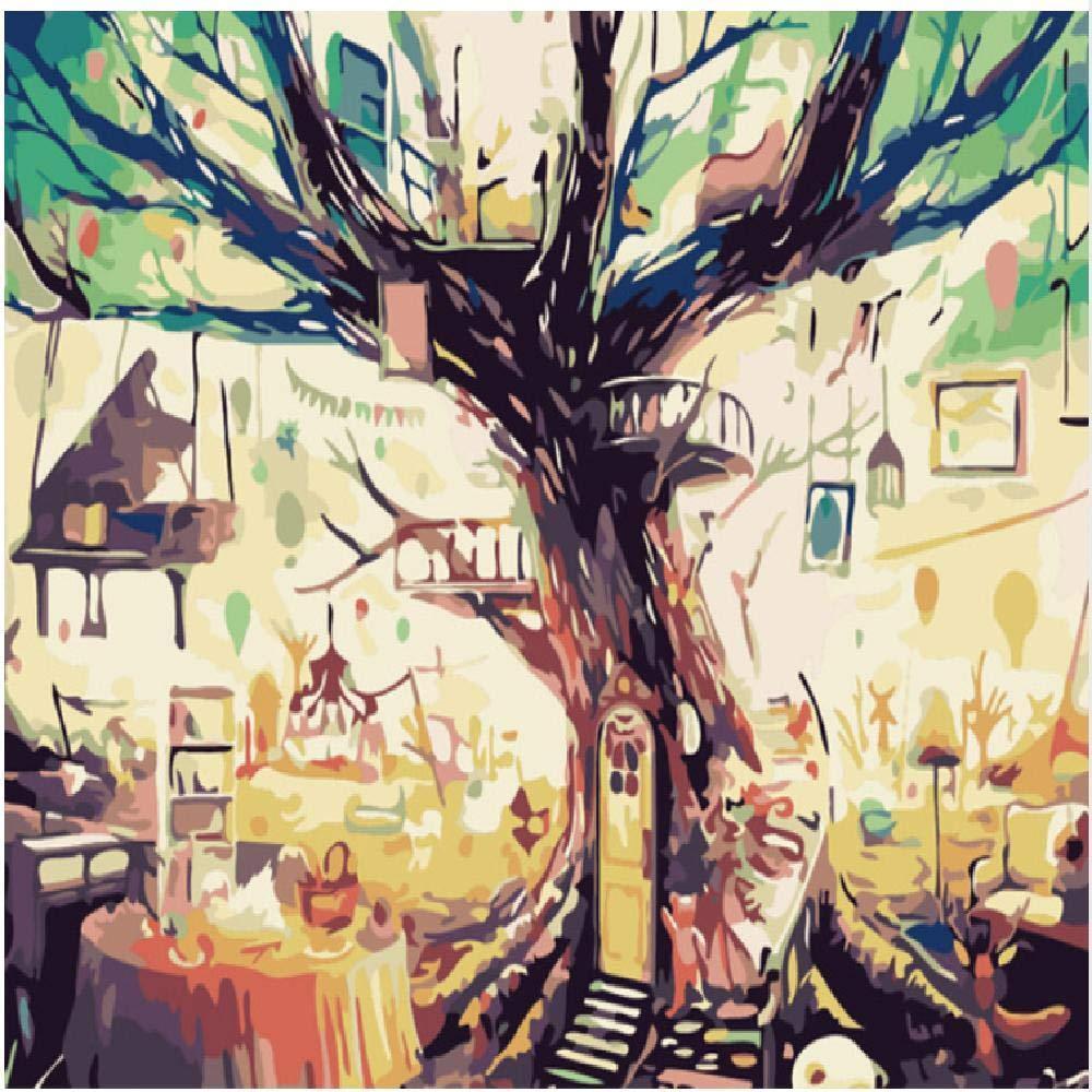 60x75cm  jjyyh Peintures par Numéros Arbre Abstrait 100X180Cm Bricolage Peinture à l'huile Linen Toile pour Adultes Les Enfants Débutants des Gamins' Jouet Numéros Peinture par Décoration Murale