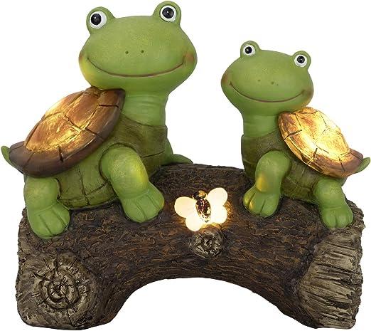 LA JOLIE MUSE Estatua de jardín para exteriores, figuras de tortugas en un tronco para patio, jardín, jardín, decoración de 9 pulgadas (tortuga): Amazon.es: Jardín