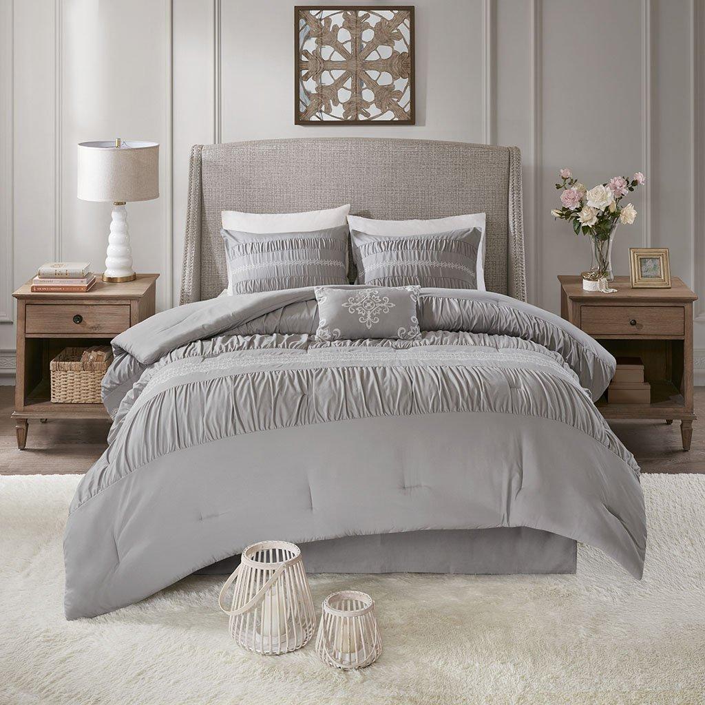 Madison Park Elvina 5 Piece Embroidered Premium Plush Comforter Set Bedding Ruched Design, Grey