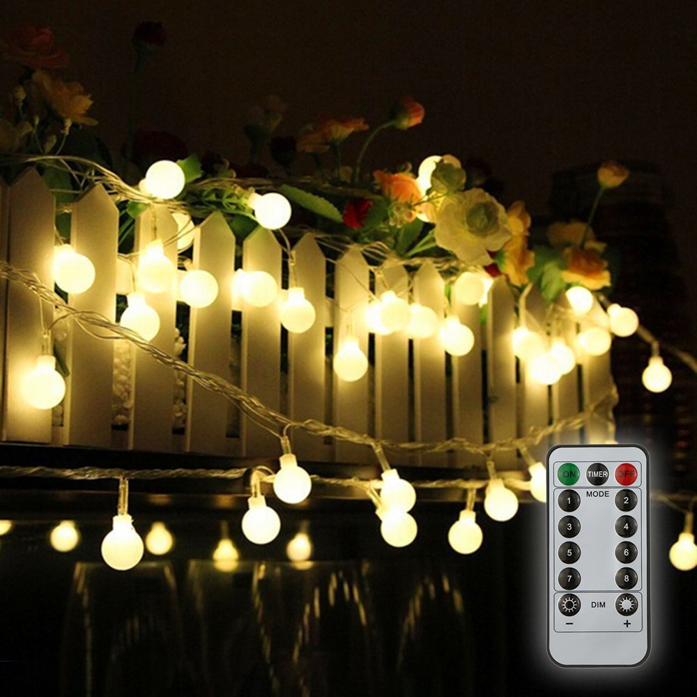 Tomshine 32.8ft 80 LED Battery Operated Globe String Lights Outdoor Decor for Patio Garden Party IP44 Water Resistance, 3 AA batteries (not provided)