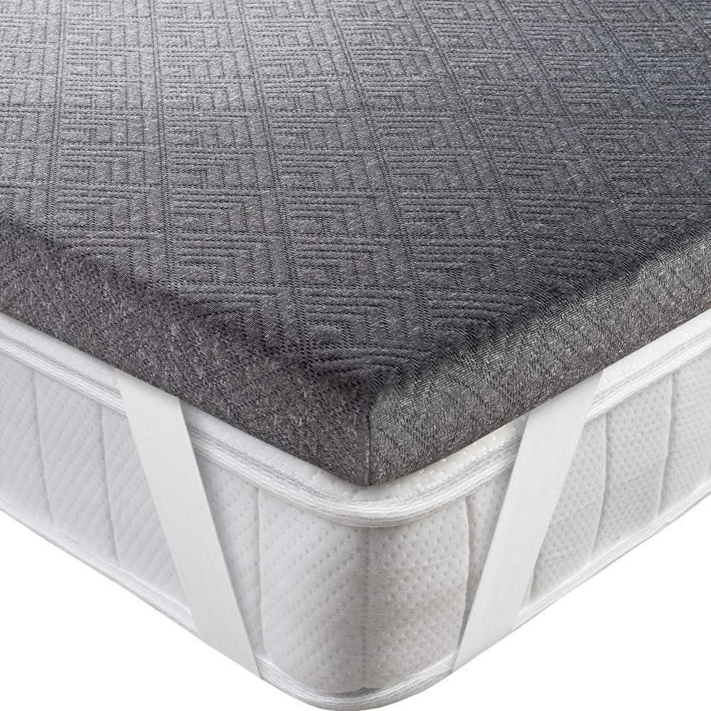BedStory [Infusión de Bambú Topper Colchón 150x190x5cm con Infusión de Bambú, Antiácaros y Transpirable, Sobrecolchón Viscoelastico con Cubierta Desmontable y Lavable