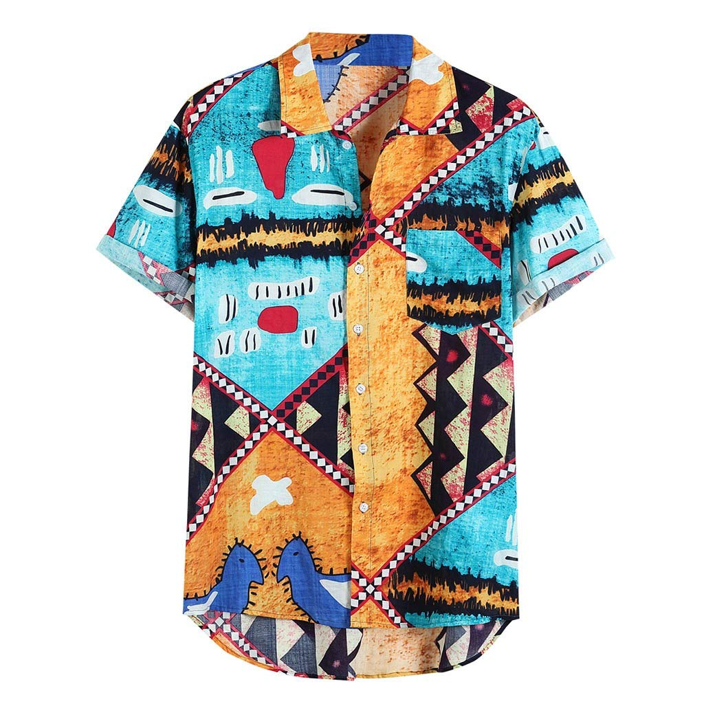 ZOMUSAR 2019 Blouse for Men, Mens Funny Printing Ethnic Style Short Sleeve Loose Casual Shirt Blouse Yellow