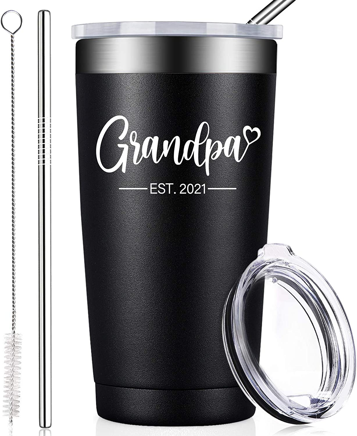 BIRGILT New Grandpas Gifts - Grandpa Est. 2021 - First Time Grandfather Gifts - Fathers Day Baby Pregnancy Christmas Presents from Daughter Son - Tumbler Cup 20oz