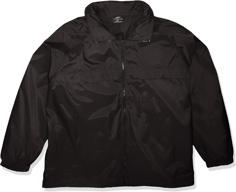 RETOV Mens Hooded Zip-Front Pack-Away Jacket X-Large Black