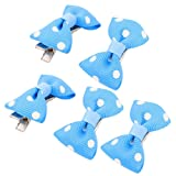 Sourcingmap Pet Dog Dots Pattern Bowknot Grooming Hairpin Barrette Clip, Blue, 5-Piece