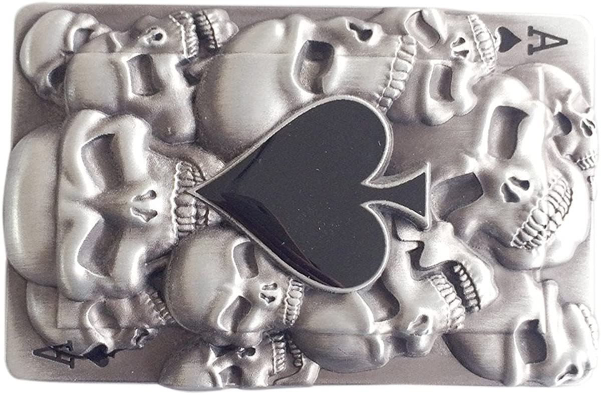 Original Tattoo Skulls Ace Spade Rectangle Belt Buckle also Stock in US