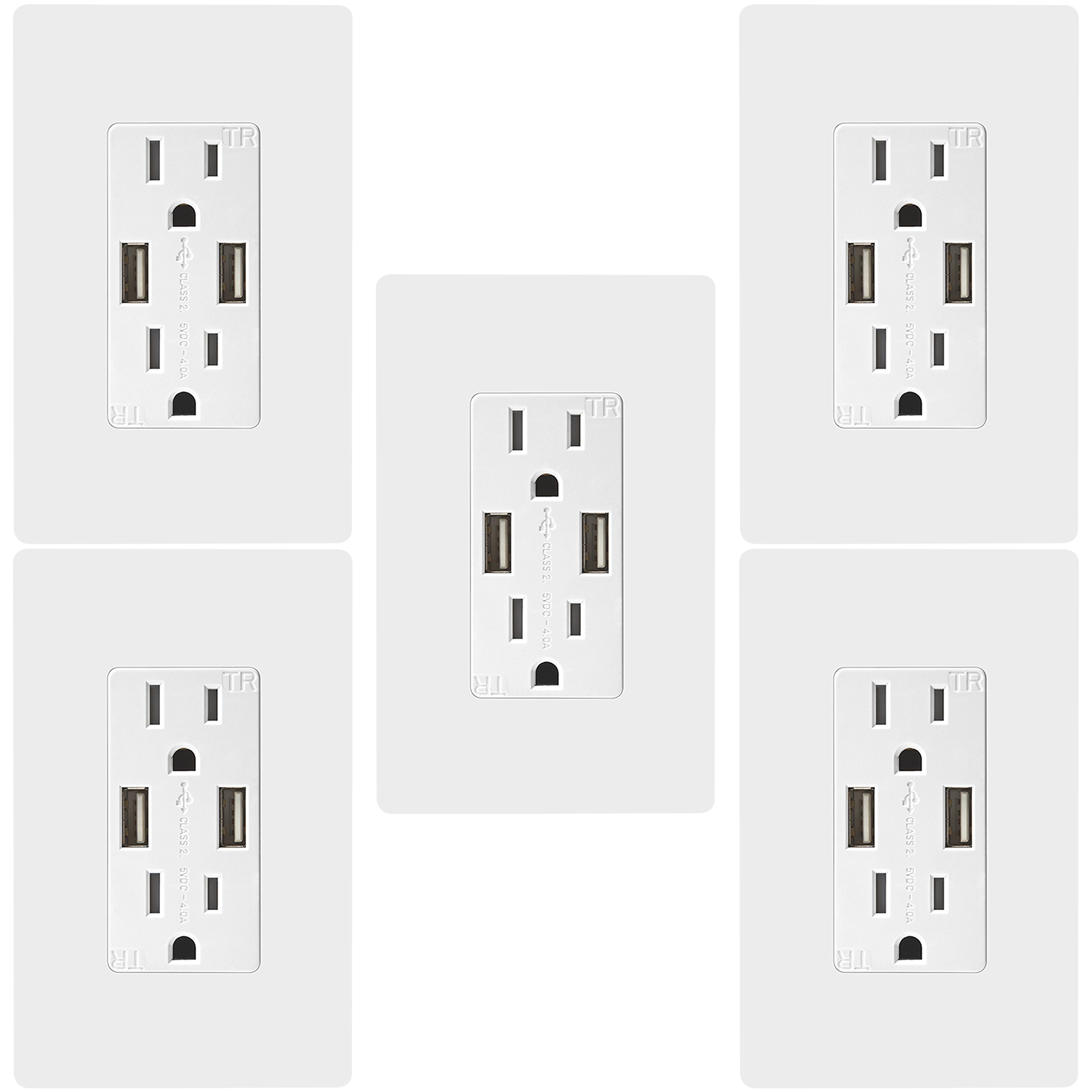 TOPGREENER TU2154A 4A High Speed USB Charger Receptacle 15A Tamper-Resistant Outlet, 5-Pack White