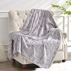 Luxury Flannel Fleece Throw Blanket, 400gsm Jacquard Weave Soft Plush Velvet Fluffy Blanket for All Seasons, Lightweight Cozy Warm Comfy Bed Couch Car Office Throw Grey, 60x80 inches