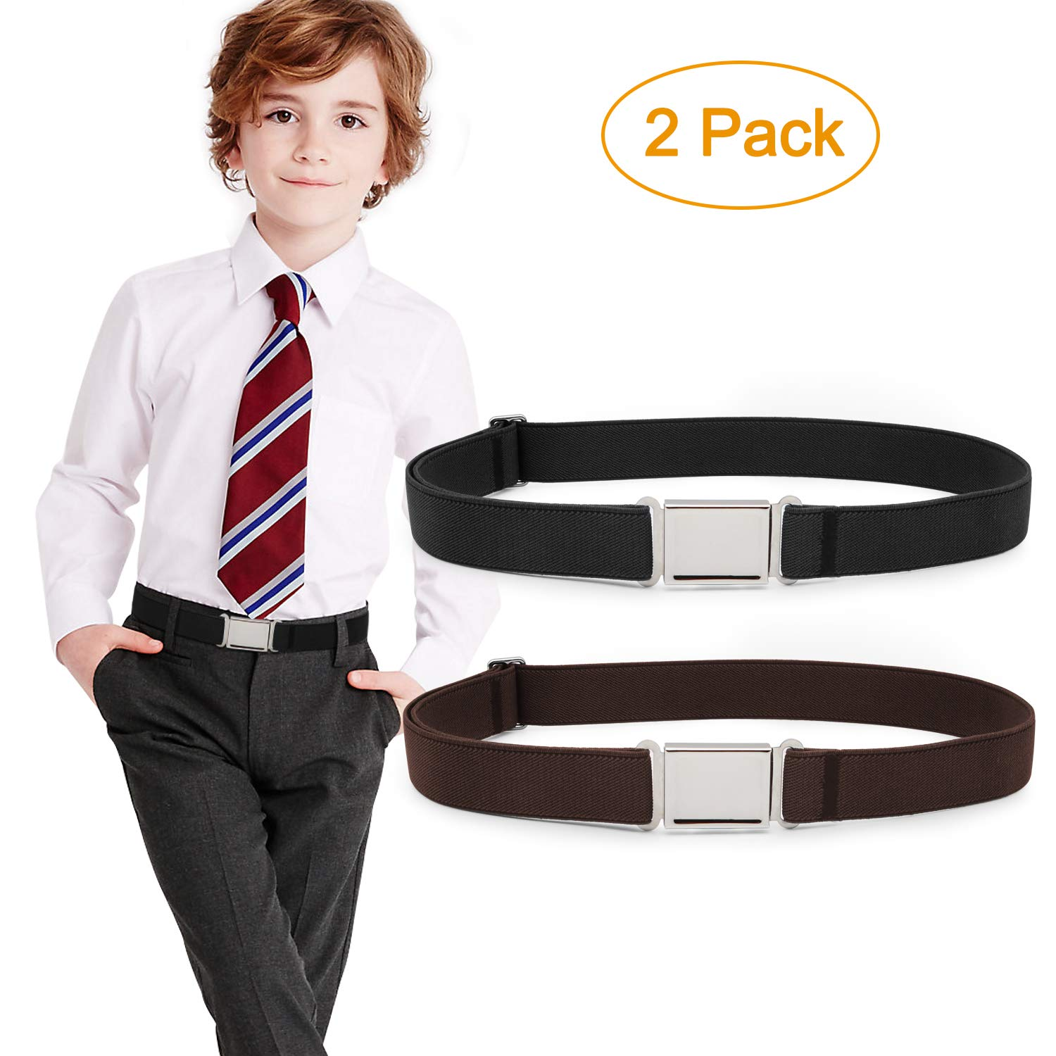 Kids Adjustable Magnetic Belt Boys Girls Elastic Belt with Easy Magnetic Buckle By JASGOOD