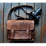 SC Leather DSLR Camera Bag, Shoulder Bag Messenger Satchel; Removable Insert; Fits Professional Size DSLR with Lens for Canon Nikon Sony