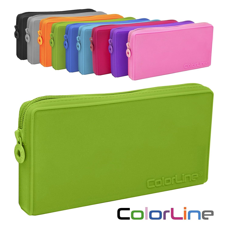 Colorline 58711 - Portatodo Plano de Silicona, Estuche Multiuso para Viaje, Material Escolar, Neceser y Accesorios. Color Verde, Medidas 21 x 10.5 x 3 ...