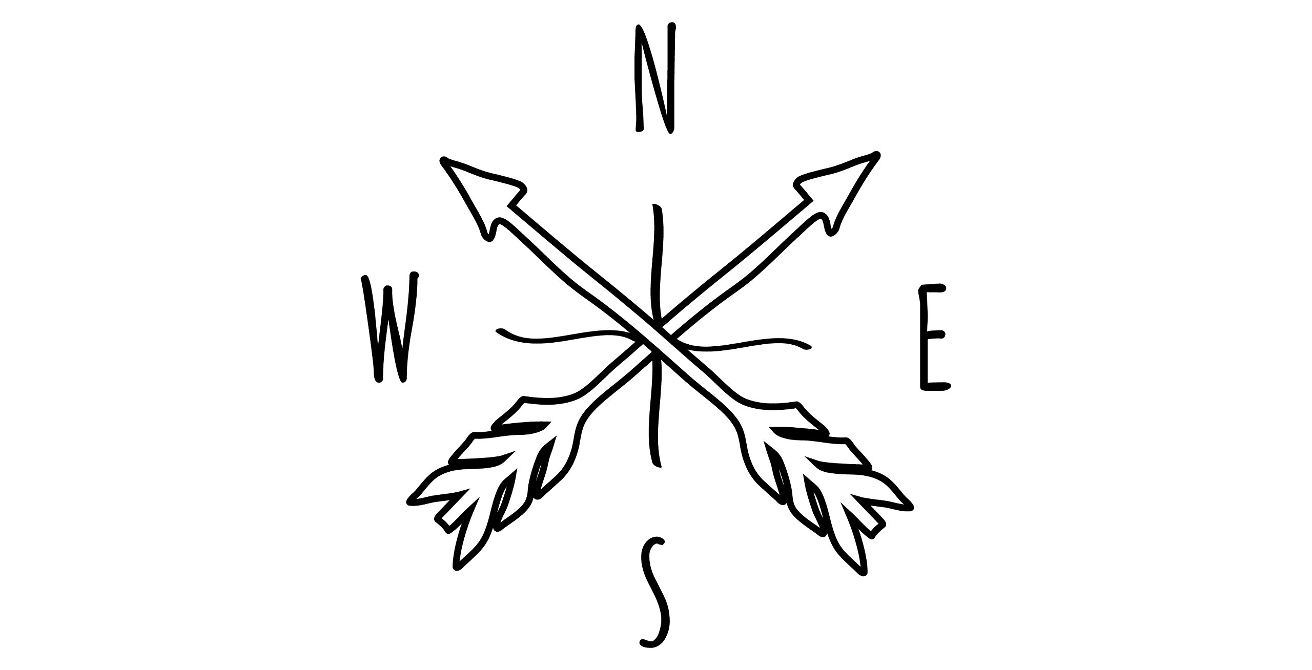 Black Doodle Arrow Compass - Small - Vinyl Wall Art Decal for Homes, Offices, Kids Rooms, Nurseries, Schools, High Schools, Colleges, Universities, Interior Designers, Architects, Remodelers