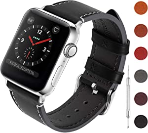 Fullmosa Leather Bands Compatible for Apple Watch Band 40mm 44mm, Genuine Leather Replacement Strap for iWatch Series 5,Series 4 Men Women, Sport and Edition