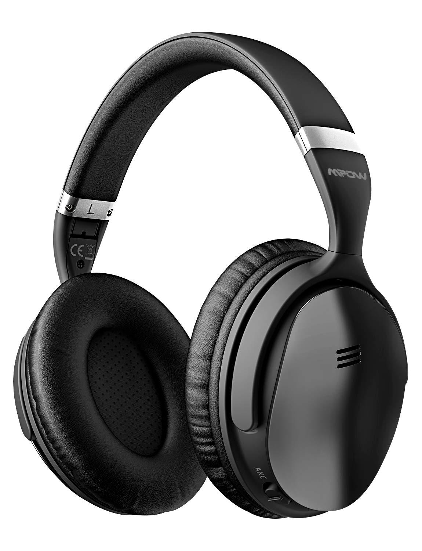 Mpow h5アクティブノイズキャンセリングBluetoothヘッドフォンover ear、ステレオワイヤレスヘッドフォンW/Mic、Never電源Off Withバックアップオーディオケーブル、折りたたみ式ヘッドセットwith Carrying Case for PC/携帯電話/TV ブラック PAMPBH143AB-USAA1-PTX B076H63ZK7 ブラック