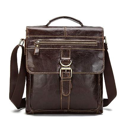 Image Unavailable. Image not available for. Color  AIYAMAYA Men s Shoulder Messenger  Bag Vintage Leather Briefcase Crossbody ... 80f3a7395f0fe