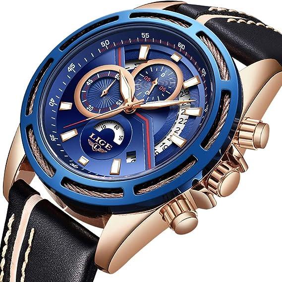 Relojes para Hombres,LIGE Impermeable Cronógrafo Deportivo Militar Reloj Analógico de Cuarzo Correa de Cuero Esfera Azul Fecha Moda Casual Lujo Relojes de ...