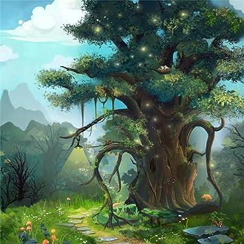 Leyiyi 8x8ft Photography Backdrop Fairy Tale World Background Enchanted Forest Wonder Land Magic World Sunlight Halo Rustic Wedding Kids Birthday Baby Shower Photo Portrait Vinyl Studio Video Prop