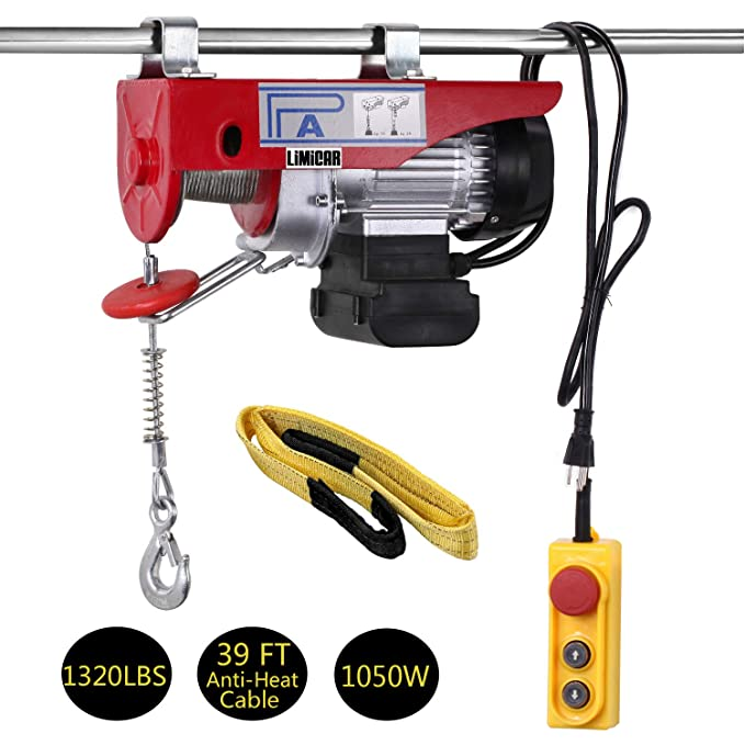 1320Lbs Electric Hoist Winch Lifting Engine Crane Steel Pulley Cable Double Line