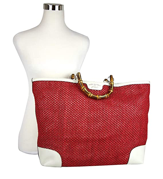 24c63892267 Amazon.com  Gucci Women s Red Straw Leather Large Top Bamboo Shopper Handle  Tote 338964  Shoes