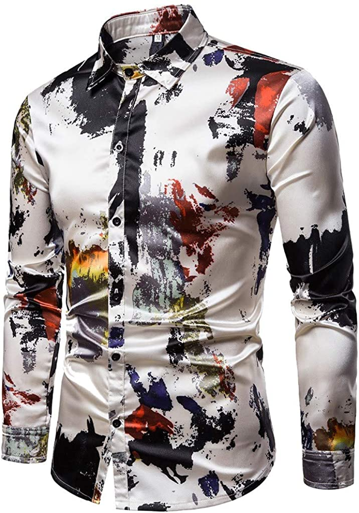 Fasclot Mens Spring Casual Slim Fit Shirts Printed Long Sleeve Button Standing Collar Shirt Top Blouse