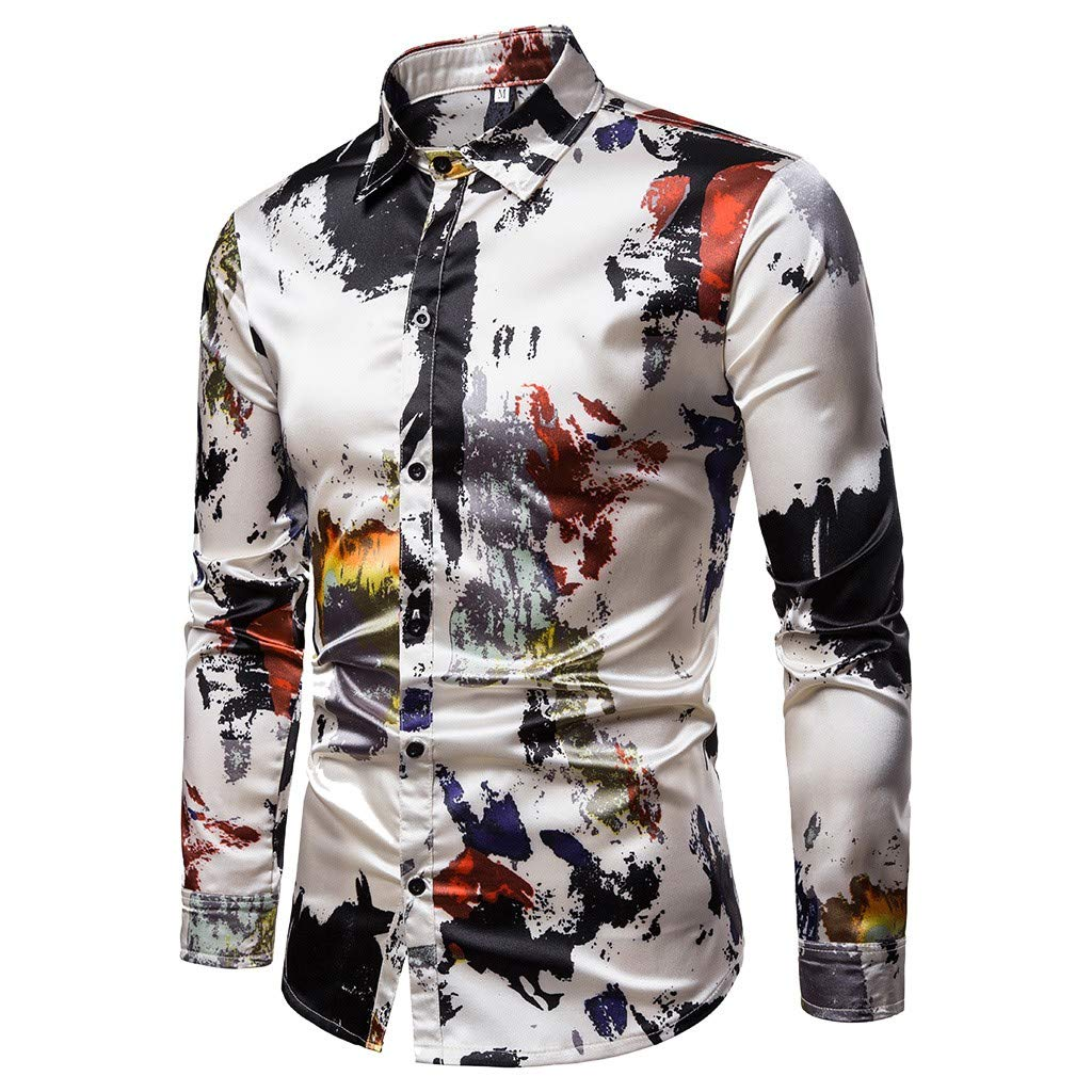 Simayixx Men Cotton Tops Popover Shirts Slim Fit Print Blouses V Neck Button Pullover Party Wedding Henley T Shirts Tunics