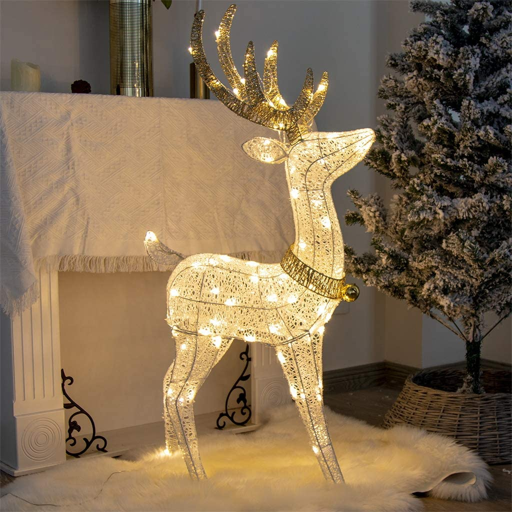 Vanthylit 48'' White Standing Deer with 70 Warm White LED Lights for Christmas Outdoor Decor