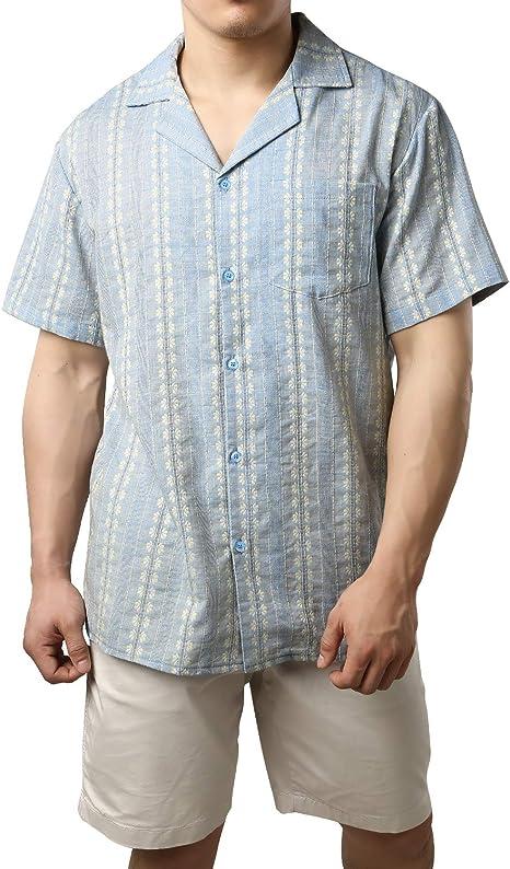 JOGAL - Camisa de manga corta para hombre, estilo guayabera cubana: Amazon.es: Ropa y accesorios