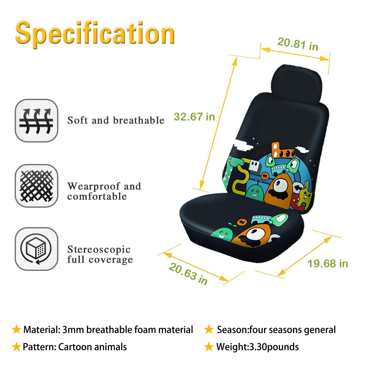 Autojoy Animal Print Front Seat Covers,Resistant All-Inclusive Universal Auto Seat Covers for SUV,Car,Truck