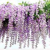 Wisteria - Flores artificiales de decoración (12 unidades, seda, altura 105cm), diseño de glicina