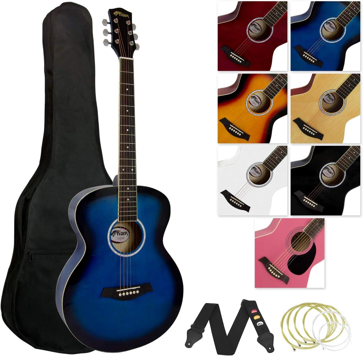 Tiger - Guitarra acústica (incluye accesorios), color azul