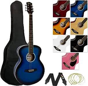Tiger - Guitarra acústica (incluye accesorios), color azul: Amazon ...