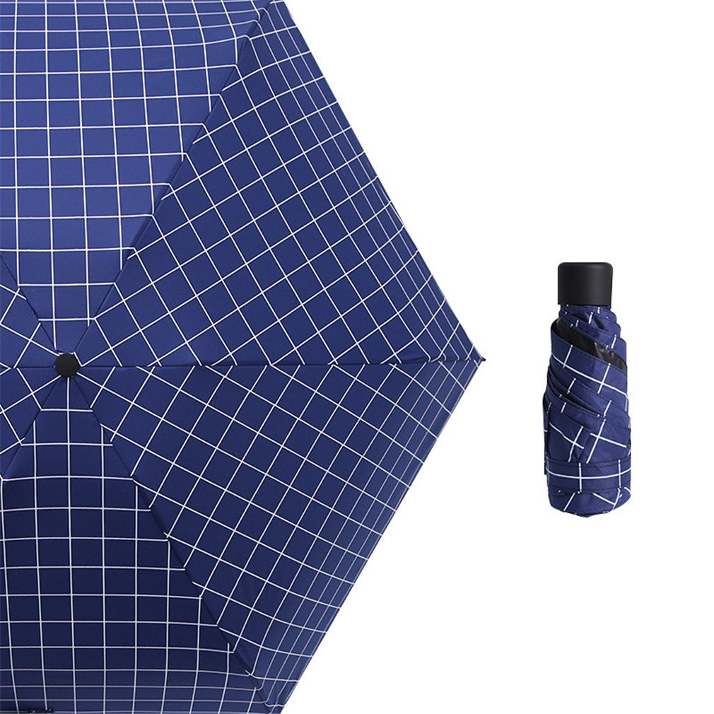 Guoke The Weather Was Fine Rain Umbrellas Use A Sunscreen Ultra Small Ultra Light Mini Light Folding Portable, Blue - Grid