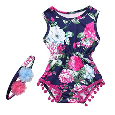 ea62b46b141 Amazon.com  Fineser Infant Kids Baby Girl Sleeveless Floral Print Tassels Romper  Jumpsuit with Headband  Clothing