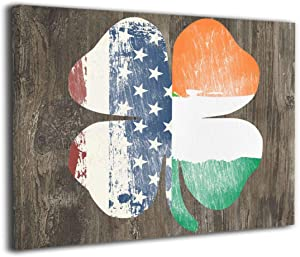 Harperson Retro Shamrock Irish American Flag Canvas Art Painting Wall Art Decor Framed Canvas Prints for Home Decoration 16 X 20 Inches