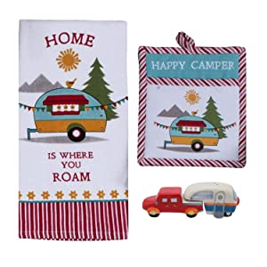 Happy Camper RV Decor - Dish Towel, Oven Mitt, and Salt Pepper Set - Kitchen Accessories for Inside Your Travel Trailer or Motorhome