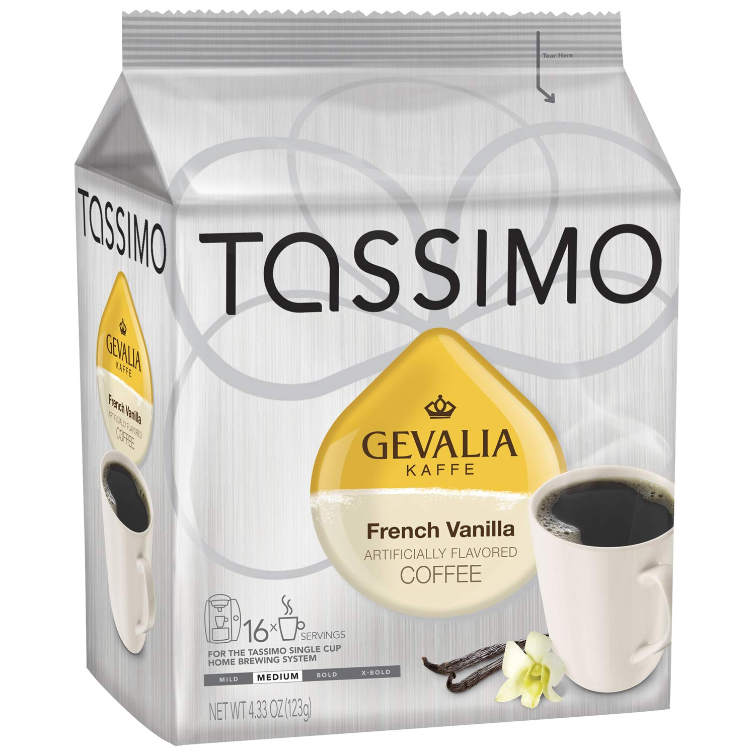 Tassimo Gevalia French Vanilla Medium Roast Coffee T-Discs for Tassimo Single Cup Home Brewing Systems, 16 ct Pack