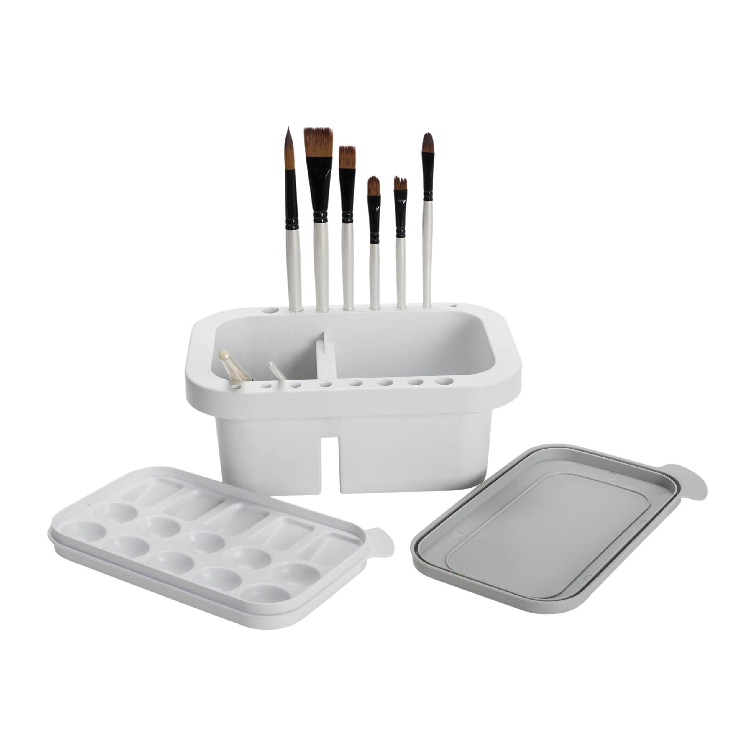 """Jerry's Artarama Artist Brush Washer Multi-Use Includes Paintbrush Rest & Stand, Cleaning & Washing Basin, Waterbucket, and Painting Palette with Lid - [9""""L x 6""""W x 4""""D]"""