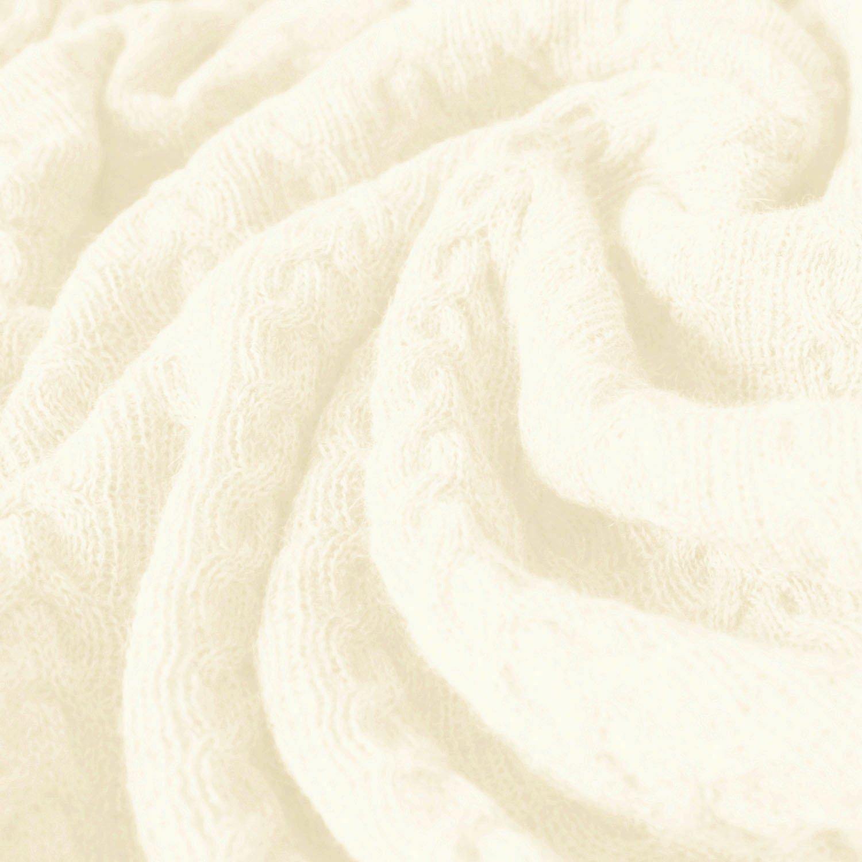 Lorenzo Cana Voluminöse Luxus Alpakadecke aus 100% Alpaka - Wolle vom Babyalpaka Naturweiss Fair Trade Decke Wohndecke gestrickt Sofadecke Tagesdecke Kuscheldecke 96247