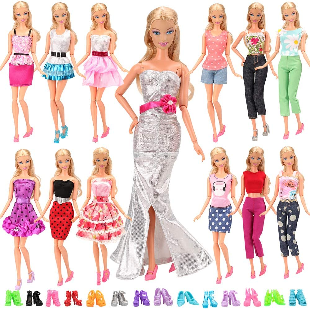 8 PAIA DI SCARPE 20 PZ ACCESSORI DOLL BARBIE DRESS 12 VESTITI BARBIE m