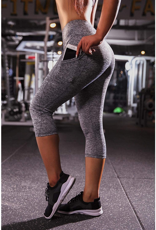 Women/'s Yoga Fitness Leggings Run Gym Stretch Sports High Waist Pants Trousers C