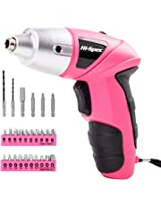 Hi-Spec 4.8V Electric Cordless Pink Screwdriver with Rechargeable 600mAh Ni-MH Battery & 27 Piece Screwdriver and Wood Drill Bit Assortment for Home DIY - Pink Power Tool for Ladies, Great Gift Idea