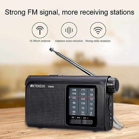 Retekess TR605 Radios portátiles con la mejor recepción AM FM SW funciona con batería con linterna LED de emergencia, batería recargable para auriculares (negro): Amazon.es: Electrónica