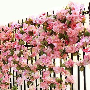 200cm Artificial Silk Wisteria Fake Garden Hanging Flower Rattan Plant Vine Wedding Decoration Spring New Home & Garden