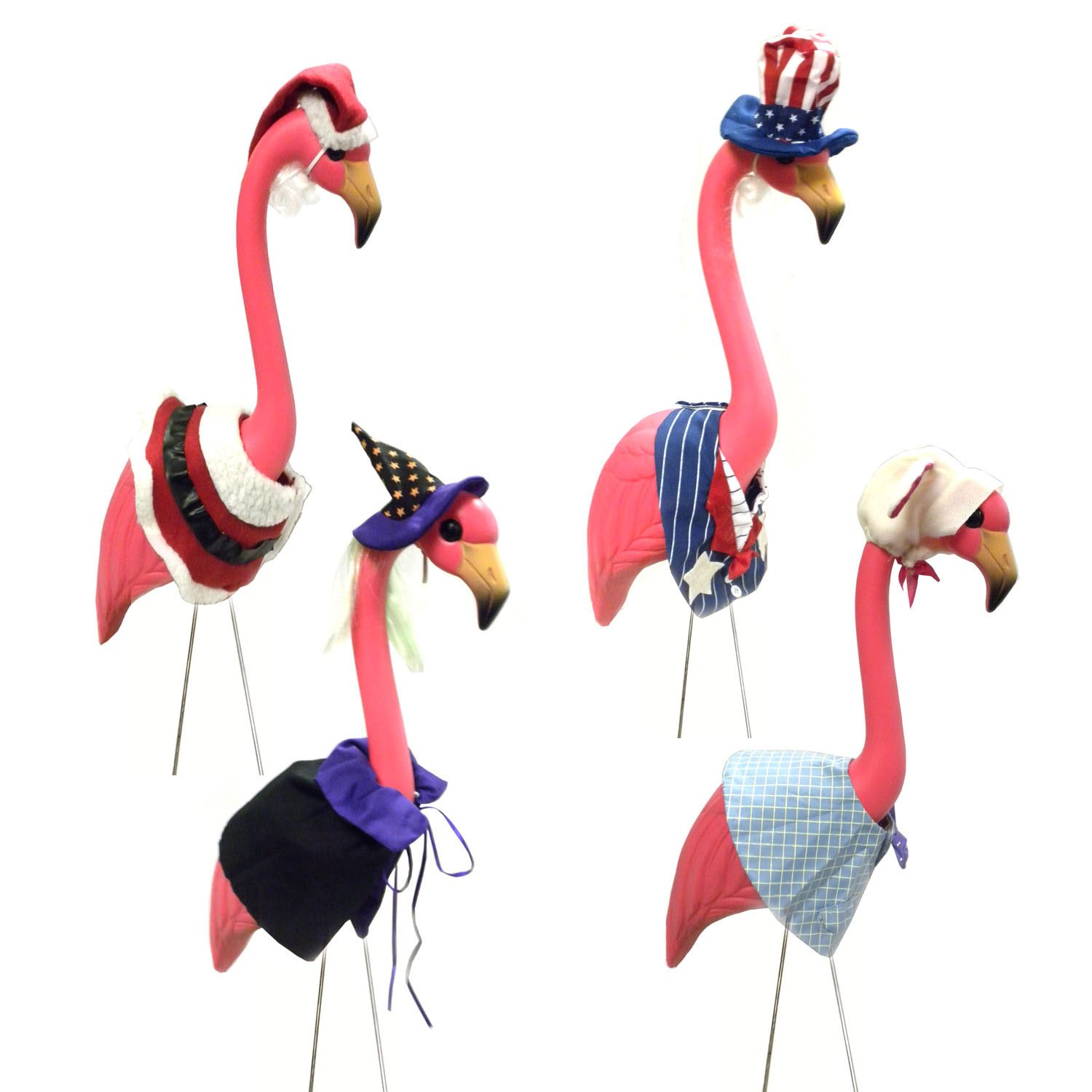 Amazon.com: Large Pink Flamingo Lawn Ornament With 4 Seasonal Outfits  Costumes Clothes: Home U0026 Kitchen