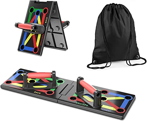 Foldable Pushup Board System 12-in-1 Portable Multicolor Home Training Equipment with Drawstring Bag for Men Women Fitness Exercise Body Training Works Your Upper Body Out