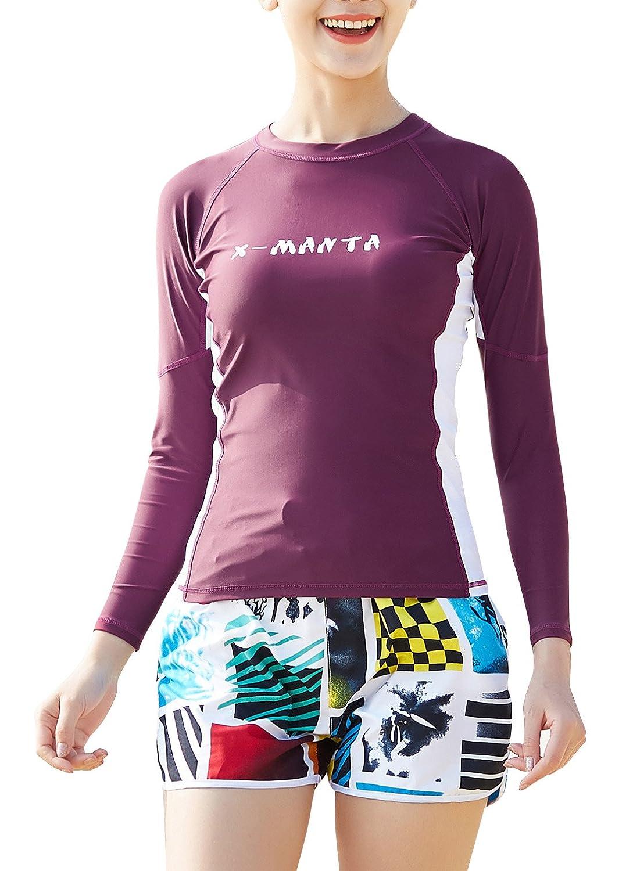 DIVE & SAIL Women UPF50+ Long Sleeve Rashguard and Printed Boardshorts Swim Set